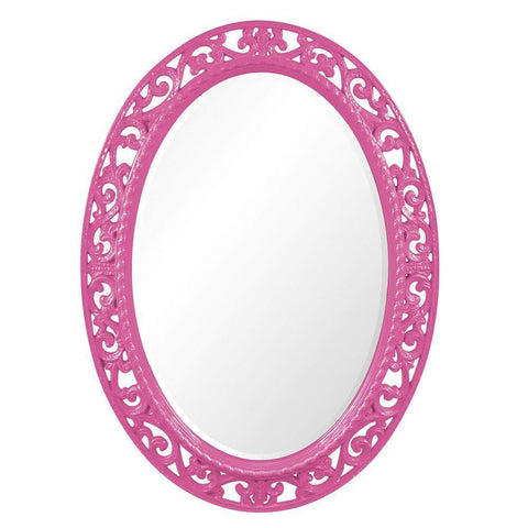 Howard Elliott Suzanne Glossy Hot Pink Mirror 38H x 27W x 1D - 2123HP-Wall Mirror-Floor Mirror Gallery