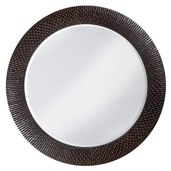 Howard Elliott Bergman Black Round Mirror 54H x 54W x 1D - 2128-Wall Mirror-Floor Mirror Gallery