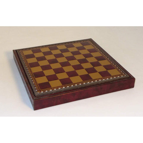 "11"" Burgundy & Gold Pressed Lthr Chest, Ital Fama, Italy, 218GR, by WorldWise Imports-Chess Board-Floor Mirror Gallery"