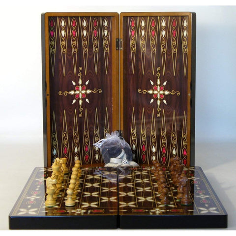 Pistachio Cluster BG & Chess, Yenigun, Turkey/India, 26274AC, by WorldWise Imports-Back & Combo-Floor Mirror Gallery