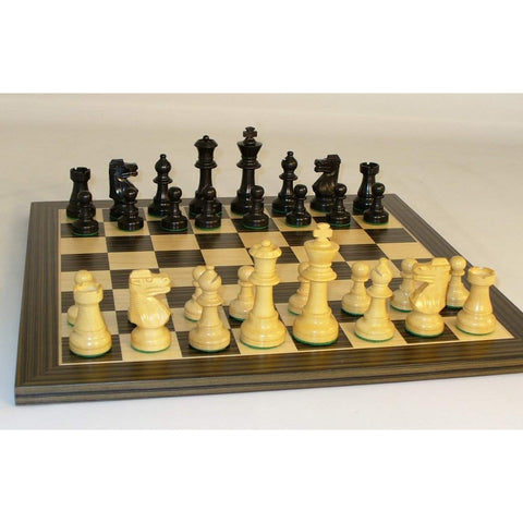 Small Blk French on Ebony veneer Brd, WW Chess, India-China, 30BF-EBC, by WorldWise Imports-Chess Set-Floor Mirror Gallery