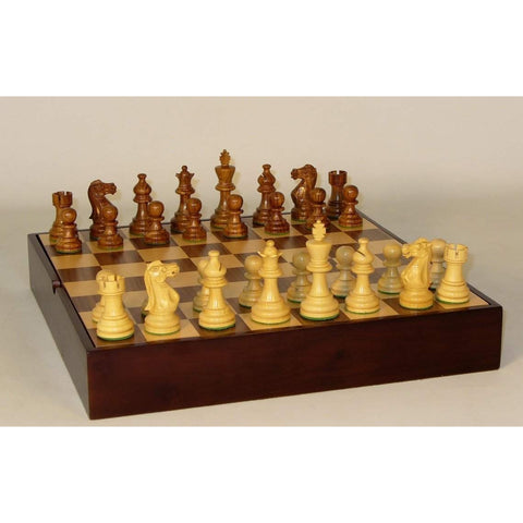 Shshm Amer. Emperor on Walnut Chest, WW Chess, India-China, 30SAE-WCT, by WorldWise Imports-Chess Set-Floor Mirror Gallery