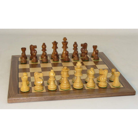 "Small Shshm French-14"" Walnut Brd, WW Chess, India-China, 30SF-WC14, by WorldWise Imports-Chess Set-Floor Mirror Gallery"