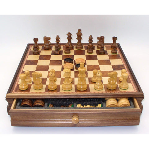 Lardy Chess & Checkers in Chest, WW Chess, India-China, 30SL-WM-35, by WorldWise Imports-Chess & Checkers-Floor Mirror Gallery