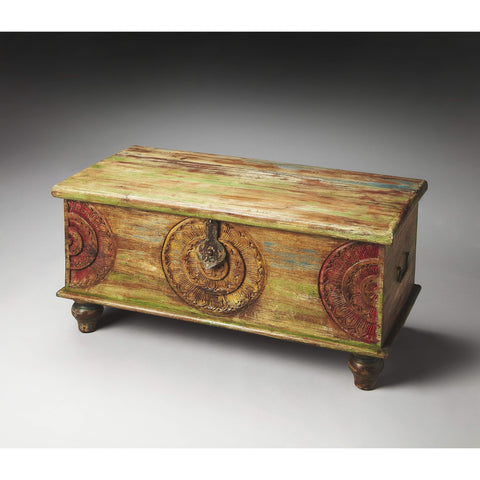Butler Mesa Carved Wood Trunk Coffee Table 3140290-Cocktail Tables-Floor Mirror Gallery