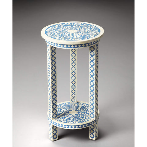 Butler Amanda Blue Bone Inlay Accent Table 3207070-Accent Table-Floor Mirror Gallery