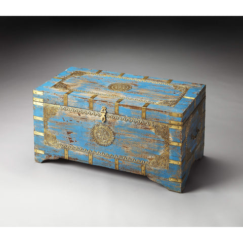 Butler Neela Painted Brass Inlay Storage Trunk 3387290-Cocktail Tables-Floor Mirror Gallery
