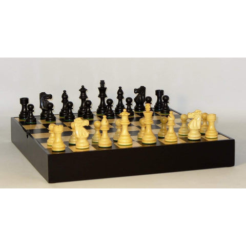Med. Black French on Black Chest, WW Chess, India-China, 35BF-BCT, by WorldWise Imports-Chess Set-Floor Mirror Gallery