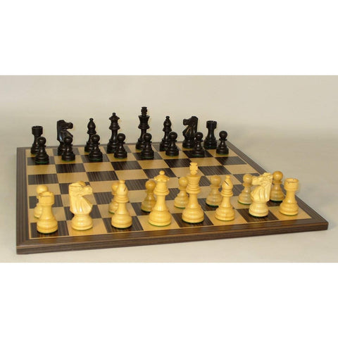 Med. Black French on Ebony Brd, WW Chess, India-China, 35BF-EBC, by WorldWise Imports-Chess Set-Floor Mirror Gallery