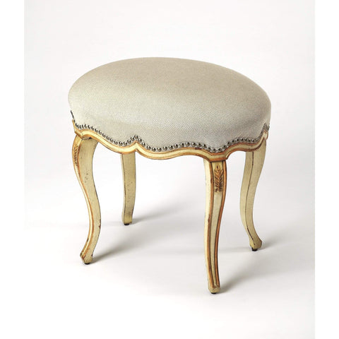 Butler Michelline Cream & Gold Painted Vanity Stool 3629221-Vanity Stool-Floor Mirror Gallery