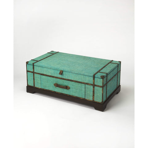 Butler Anabel Green Raffia Trunk Coffee Table 3703377-Cocktail Tables-Floor Mirror Gallery