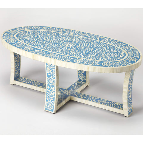 Butler Sabina Blue Bone Inlay Coffee Table 3784319-Cocktail Tables-Floor Mirror Gallery