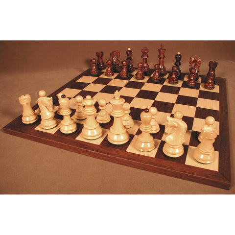 Rswd Old Russian on Drk Rswd Brd, WW Chess, India-Spain, 37RO-DR, by WorldWise Imports-Chess Set-Floor Mirror Gallery