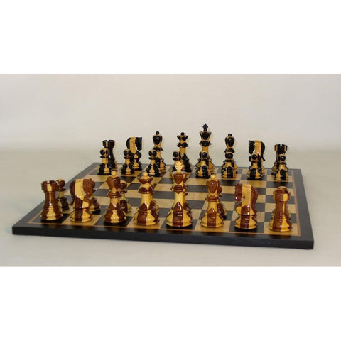 Inlaid Russian on Blk Birdseye Brd, WW Chess, India-China, 37SI-BBM, by WorldWise Imports-Chess Set-Floor Mirror Gallery