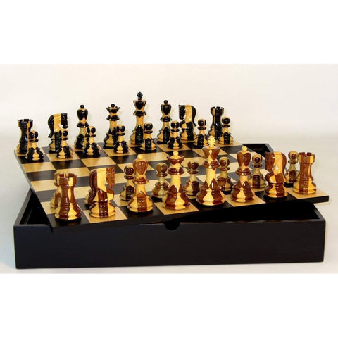 Inlaid Russian on Black-Maple Chest, WW Chess, India-China, 37SI-BCT, by WorldWise Imports-Chess Set-Floor Mirror Gallery