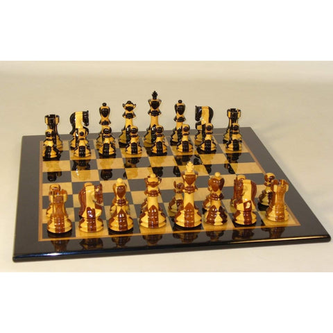 Inlaid Russian on Black-Madrona glossy brd, WW Chess, India-Spain, 37SI-BMG, by WorldWise Imports-Chess Set-Floor Mirror Gallery