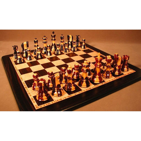 Inlaid Russian on Ebony Brd, WW Chess, India-China, 37SI-EBM, by WorldWise Imports-Chess Set-Floor Mirror Gallery