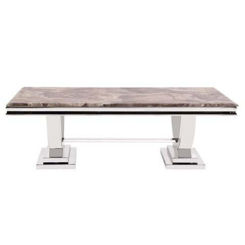 Howard Elliott Stainless Steel Coffee Table with Stone Top 16H x 51W x 27D - 38002-Accent Table-Floor Mirror Gallery