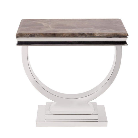 Howard Elliott Stainless Steel Side Table with Stone Top 21H x 24W x 24D - 38003-Accent Table-Floor Mirror Gallery