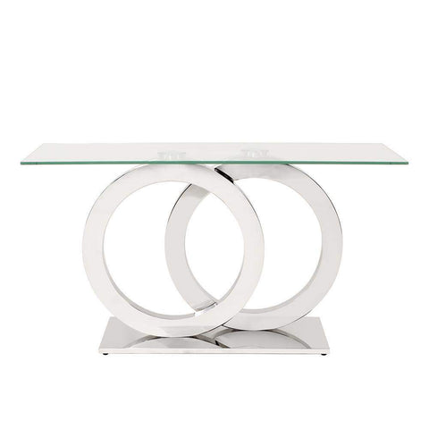 Howard Elliott Stainless Steel Console Table with Circular Base 30H x 55W x 18D - 38015-Console Table-Floor Mirror Gallery