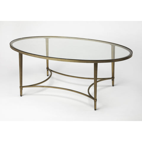 Butler Monica Gold Oval Coffee Table 3802355-Cocktail Tables-Floor Mirror Gallery