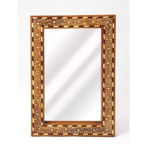 Butler Chevrier Wood & Bone Inlay Wall Mirror 3832338-Wall Mirror-Floor Mirror Gallery