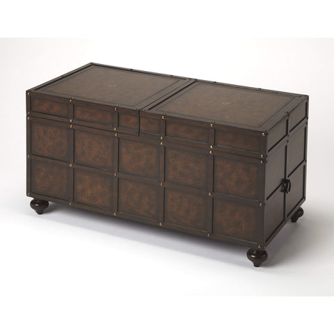 Butler Dennard Faux Leather Storage Coffee Table 3857070-Cocktail Tables-Floor Mirror Gallery