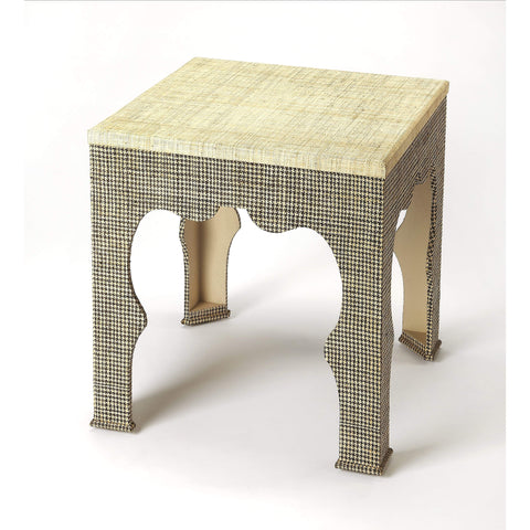Butler Haverford Houndstooth Raffia End Table 3859140-Accent Table-Floor Mirror Gallery