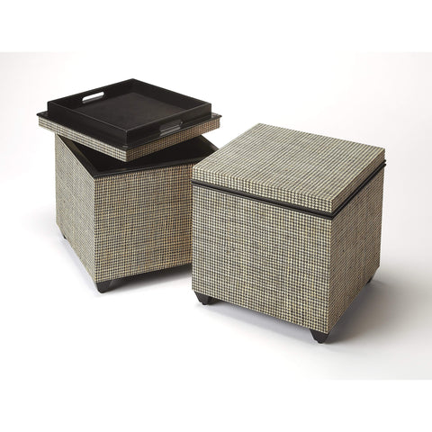 Butler Stickland Houndstooth Raffia Storage Ottoman 3861140-Accent Table-Floor Mirror Gallery