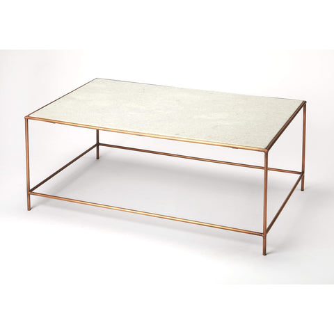 Butler Copperfield White Marble Coffee Table 3871389-Cocktail Tables-Floor Mirror Gallery