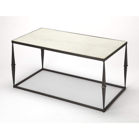 Butler Jacoby White Marble Coffee Table 3896389-Cocktail Tables-Floor Mirror Gallery