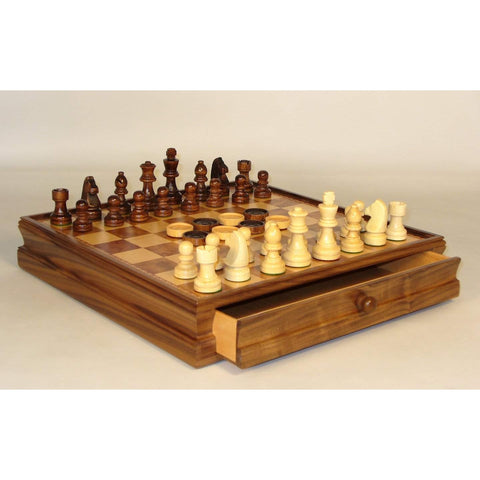 Chess set with Drawer & Checkers, WW Chess, China, 40394-35, by WorldWise Imports-Chess & Checkers-Floor Mirror Gallery