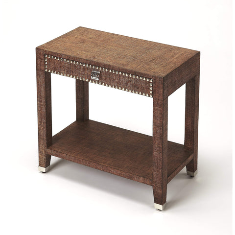 Butler Bernardo Brown Raffia End Table 4330354-Accent Table-Floor Mirror Gallery