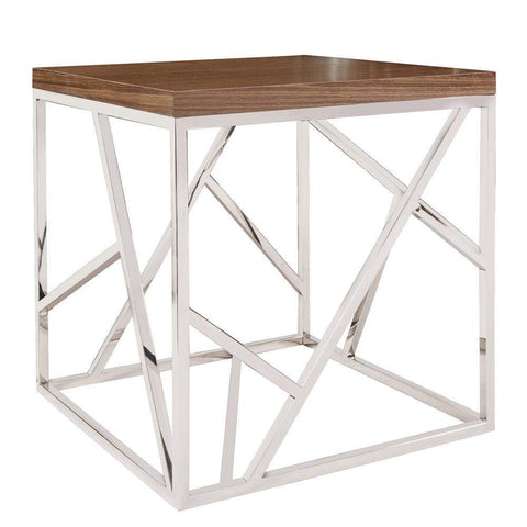 Howard Elliott Angles Silver Side Table 24H x 24W x 24D - 48003-Accent Table-Floor Mirror Gallery