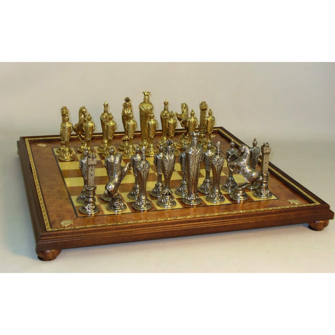 Renaissance Men on Gold Trim Brd, Ital Fama, Italy, 48M-EBG, by WorldWise Imports-Chess Set-Floor Mirror Gallery