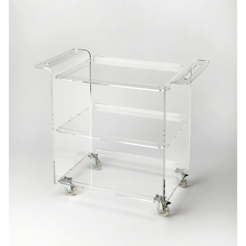 Butler Crystal Clear Acrylic Trolley Server 5169335-Serving Tables-Floor Mirror Gallery