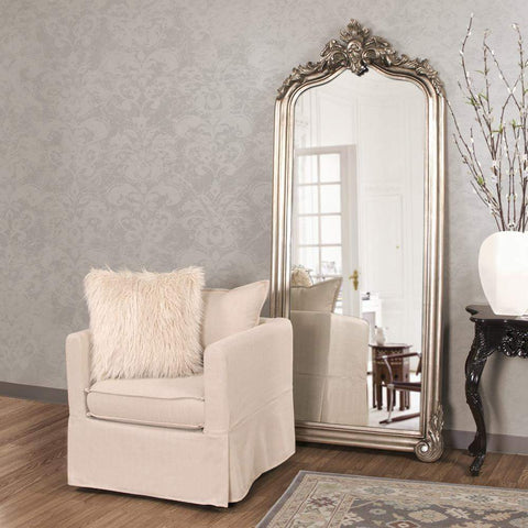 silver floor mirror. Howard Elliott Tudor Silver Floor Mirror 87H X 38W 3D - 53073-Wall F