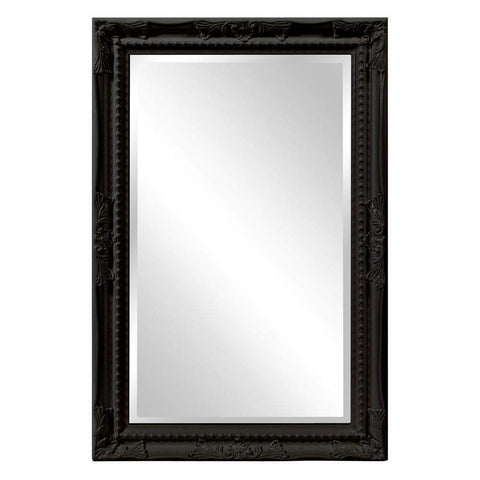 Howard Elliott Queen Ann Rectangular Glossy Black Mirror 33H x 25W x 1D - 53081BL-Wall Mirror-Floor Mirror Gallery