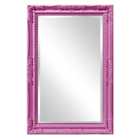 Howard Elliott Queen Ann Rectangular Glossy Hot Pink Mirror 33H x 25W x 1D - 53081HP-Wall Mirror-Floor Mirror Gallery
