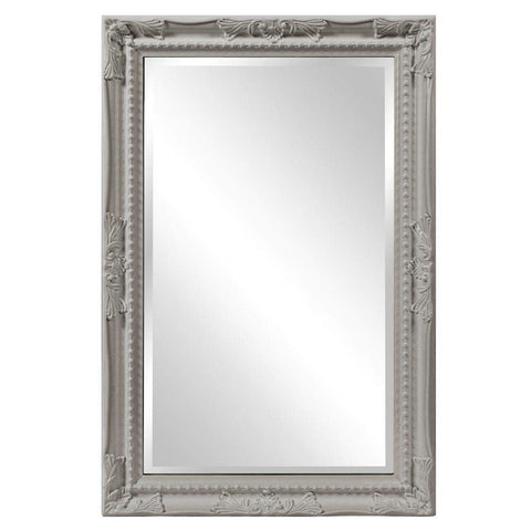 Howard Elliott Queen Ann Rectangular Glossy Nickel Mirror 33H x 25W x 1D - 53081N-Wall Mirror-Floor Mirror Gallery
