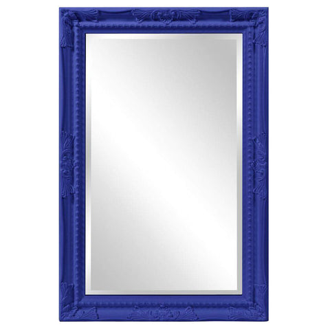 Howard Elliott Queen Ann Rectangular Glossy Royal Blue Mirror 33H x 25W x 1D - 53081RB-Wall Mirror-Floor Mirror Gallery