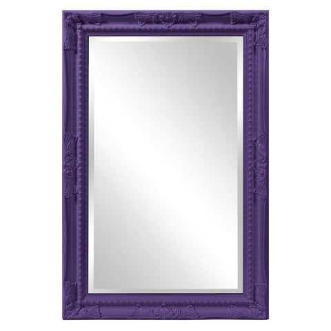 Howard Elliott Queen Ann Rectangular Glossy Royal Purple Mirror 33H x 25W x 1D - 53081RP-Wall Mirror-Floor Mirror Gallery