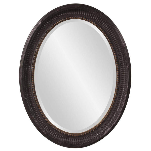 Howard Elliott Nero Black Oval Mirror 34H x 26W x 2D - 56104-Wall Mirror-Floor Mirror Gallery