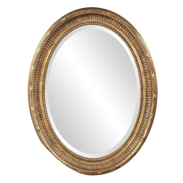 Howard Elliott Nero Country Gold Oval Mirror 34H x 26W x 2D - 56120-Wall Mirror-Floor Mirror Gallery