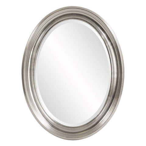 Howard Elliott Sterling Oval Silver Mirror 33H x 26W x 2D - 56176-Wall Mirror-Floor Mirror Gallery