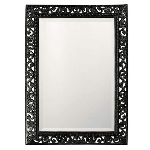 Howard Elliott Rectangle Bristol Glossy Black Mirror 36H x 26W x 1D - 6041BL-Wall Mirror-Floor Mirror Gallery