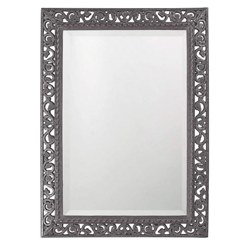 Howard Elliott Rectangle Bristol Glossy Charcoal Gray Mirror 36H x 26W x 1D - 6041CH-Wall Mirror-Floor Mirror Gallery