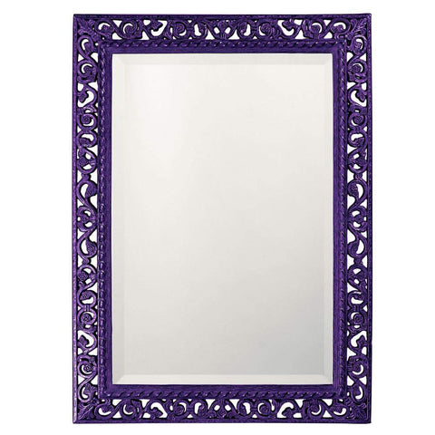 Howard Elliott Rectangle Bristol Glossy Royal Purple Mirror 36H x 26W x 1D - 6041RP-Wall Mirror-Floor Mirror Gallery