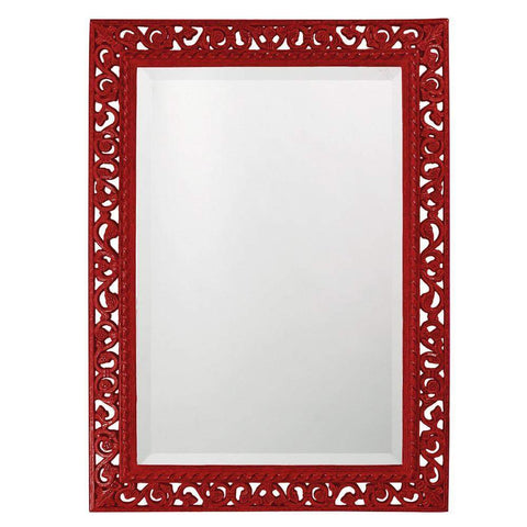 Howard Elliott Rectangle Bristol Glossy Red Mirror 36H x 26W x 1D - 6041R-Wall Mirror-Floor Mirror Gallery