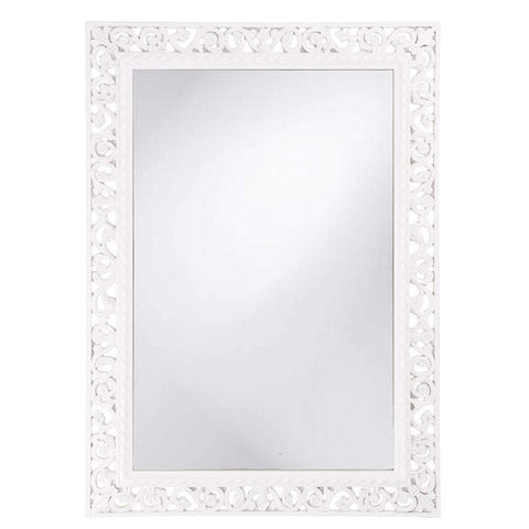 Howard Elliott Rectangle Bristol Glossy White Mirror 36H x 26W x 1D - 6041W-Wall Mirror-Floor Mirror Gallery